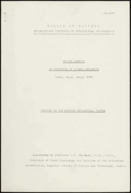 Second Meeting of Directors of Higher Education, Paris, April 28-29, 1933 - Biology in the Britis...