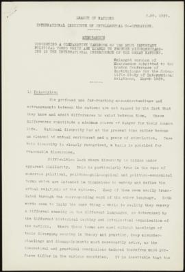 Memorandum of Dr. W. Haas, concerning a Comparative Handbook of the most important political term...