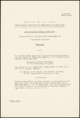 Preparation of the 1935 Study Conference on Collective Security - Memorandum - Switzerland